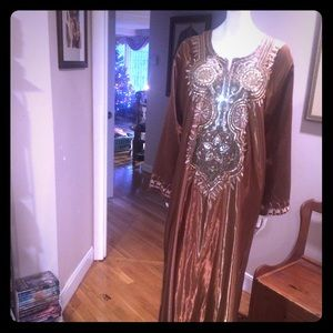 Dresses & Skirts - Bronze Moroccan Traditional Sequenced Long Dress
